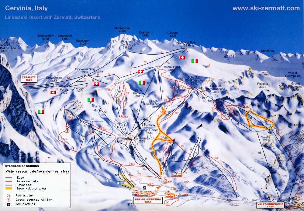 Valtournenche Italy  city photo : Cervinia is linked tothe ski lifts of Zermatt at 'Plateau Rosa ...