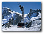 Click for a large photo of the Klein Matterhorn cable car - carrying 100 people and dwarfed by the scenery